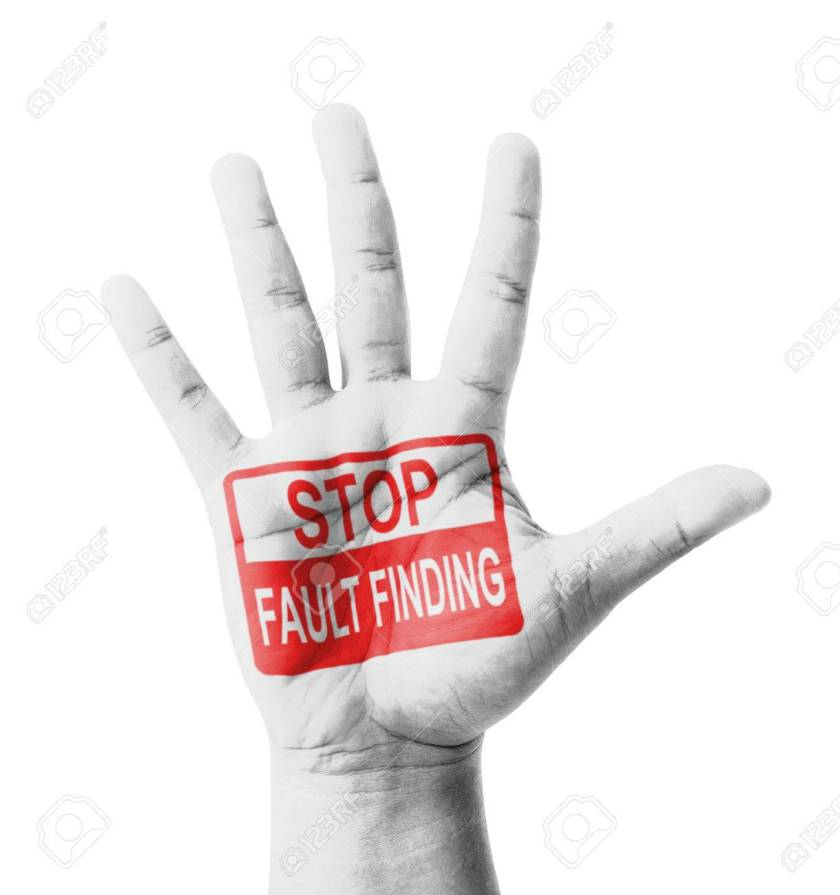 Open hand raised, Stop Fault Finding sign painted, multi purpose